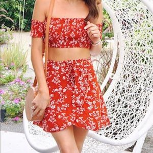 Floral off the shoulder top with skirt